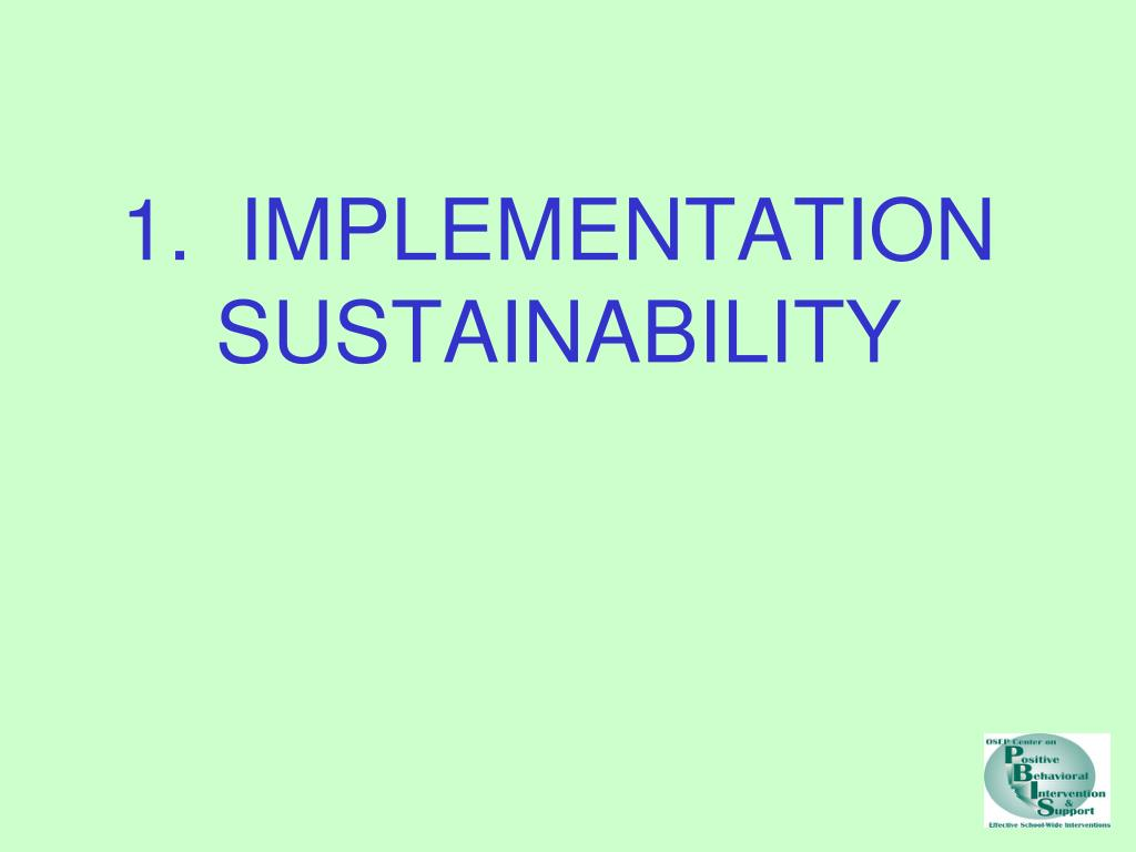 1.  IMPLEMENTATION SUSTAINABILITY