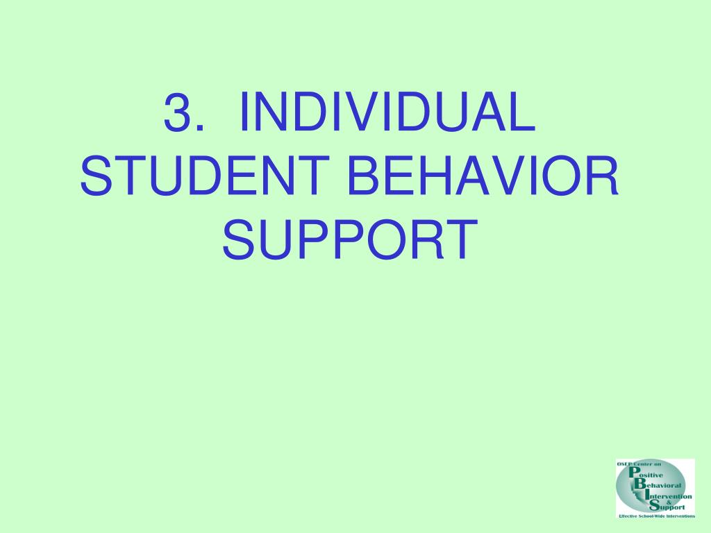 3.  INDIVIDUAL STUDENT BEHAVIOR SUPPORT