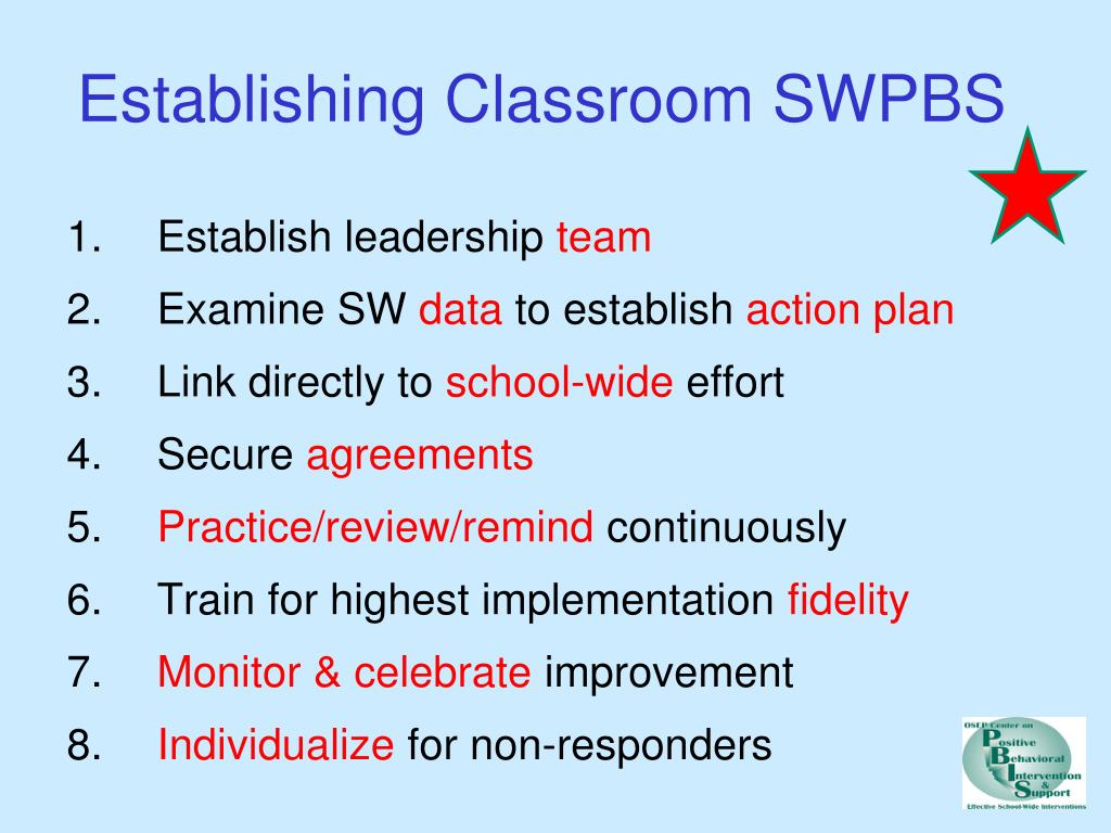 Establishing Classroom SWPBS