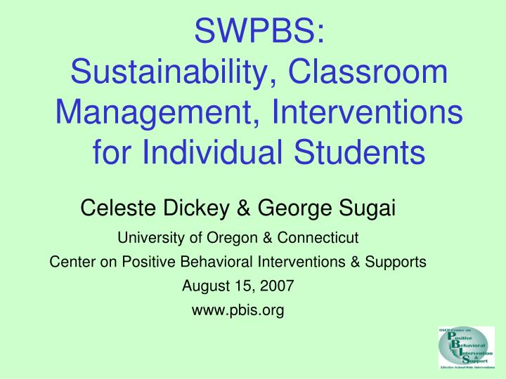Swpbs sustainability classroom management interventions for individual students