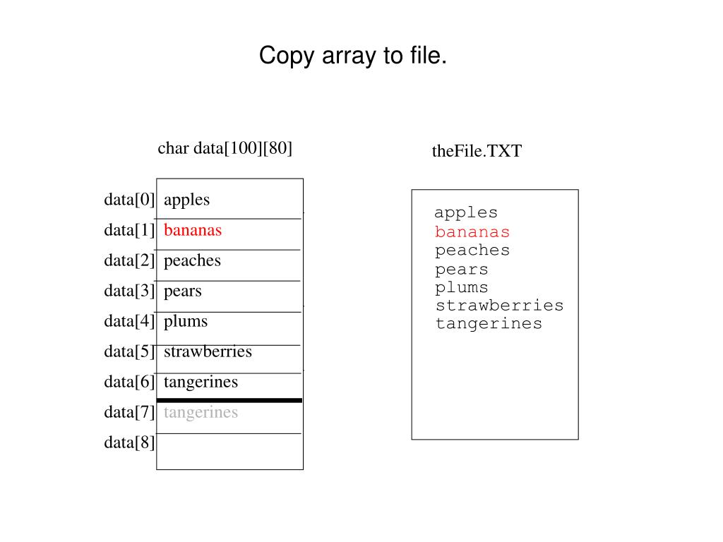 Copy array to file.