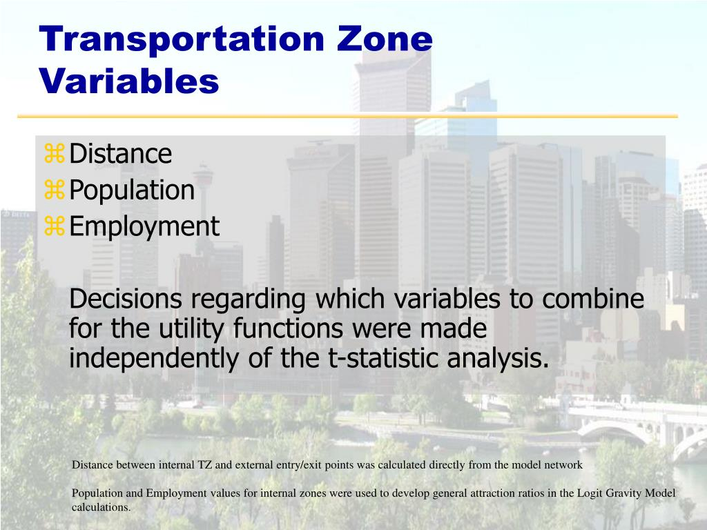 Transportation Zone Variables