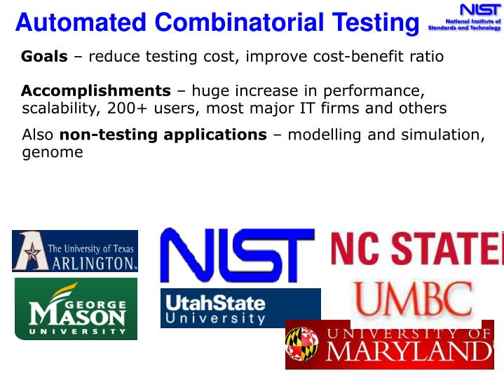 Automated combinatorial testing l.jpg