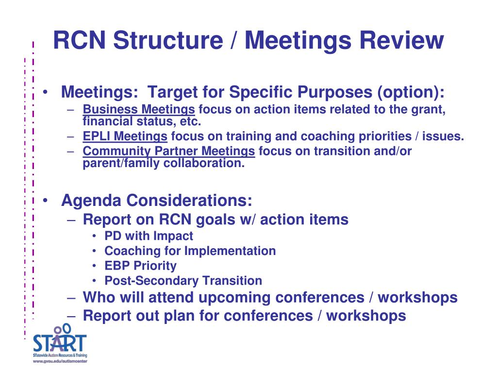 RCN Structure / Meetings Review