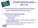 start rcn priorities 2011 12