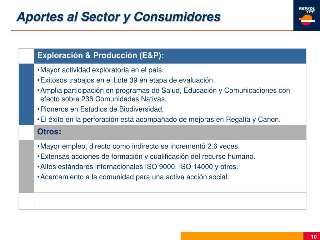 Aportes al Sector y Consumidores