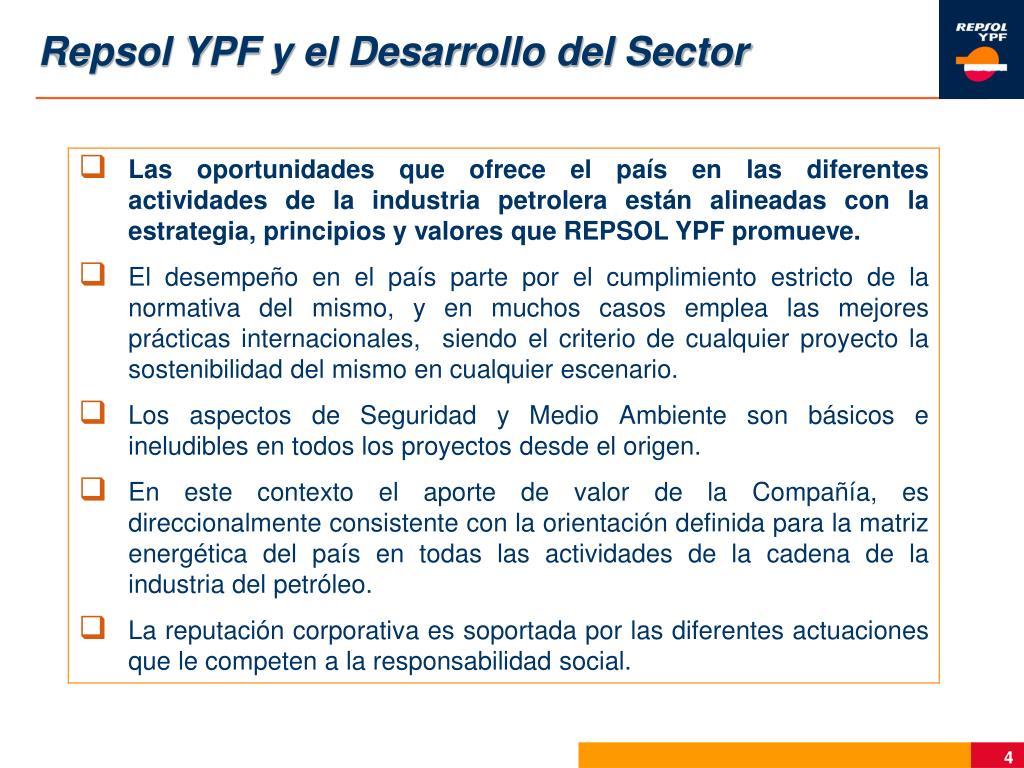 Repsol YPF y el Desarrollo del Sector