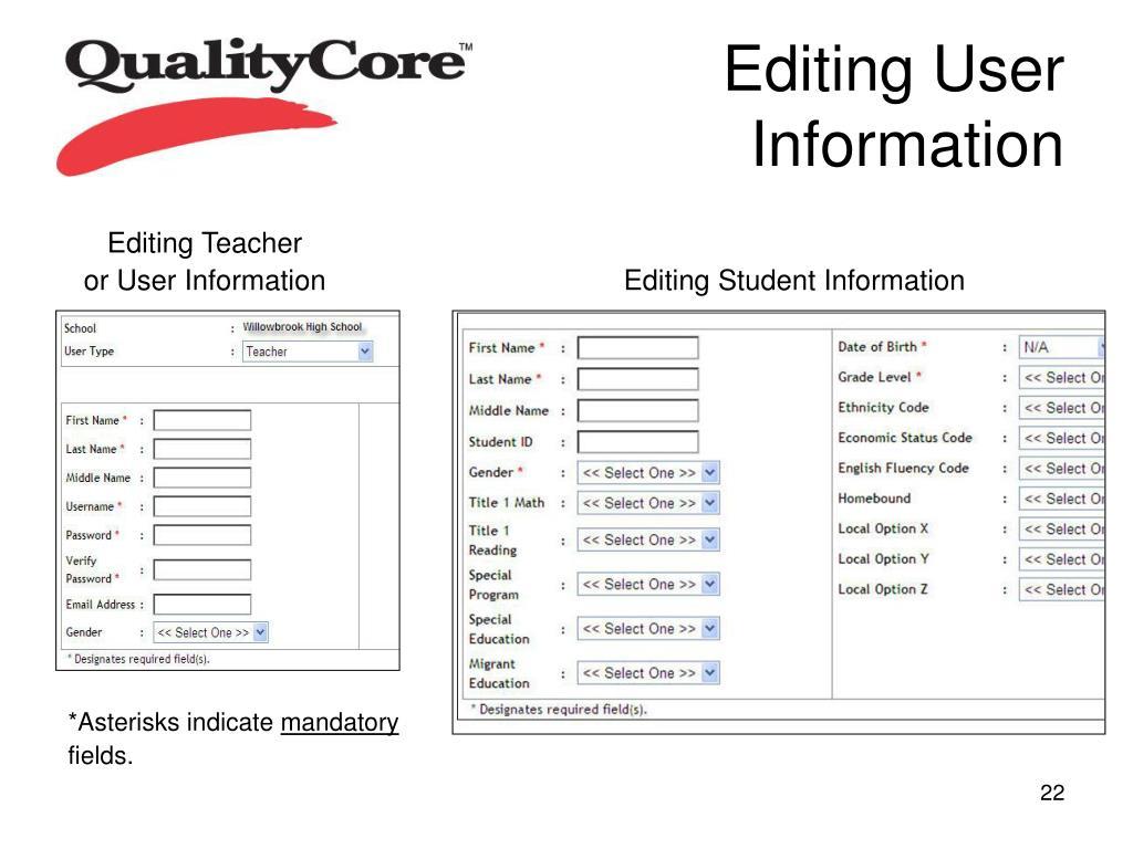 Editing User