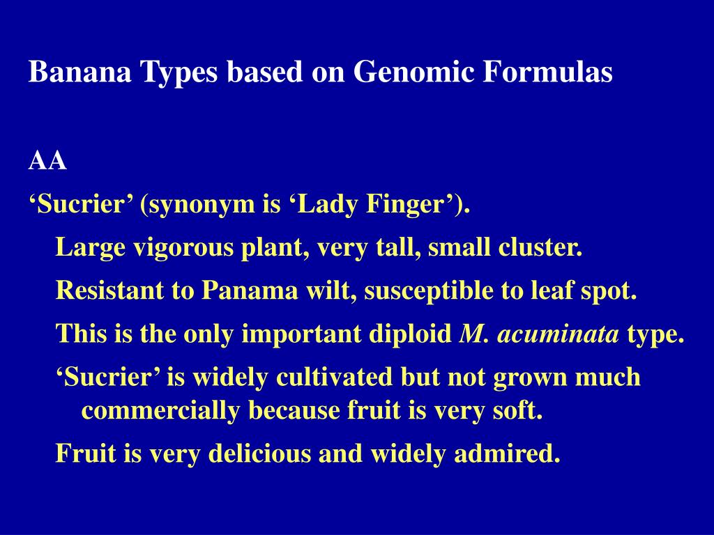 Banana Types based on Genomic Formulas