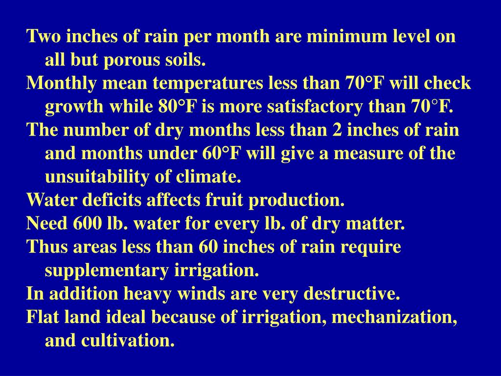 Two inches of rain per month are minimum level on all but porous soils.