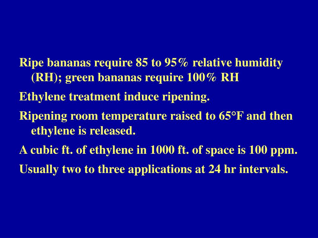 Ripe bananas require 85 to 95% relative humidity (RH); green bananas require 100% RH