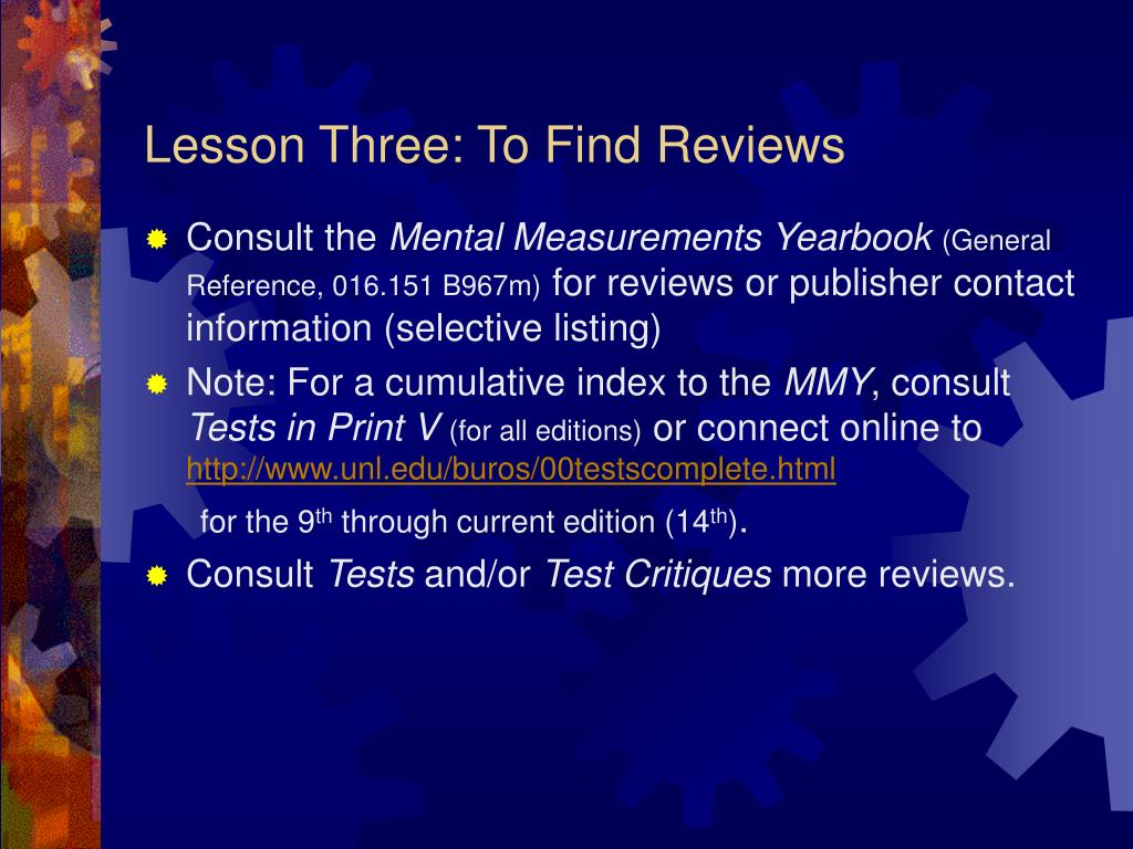 Lesson Three: To Find Reviews