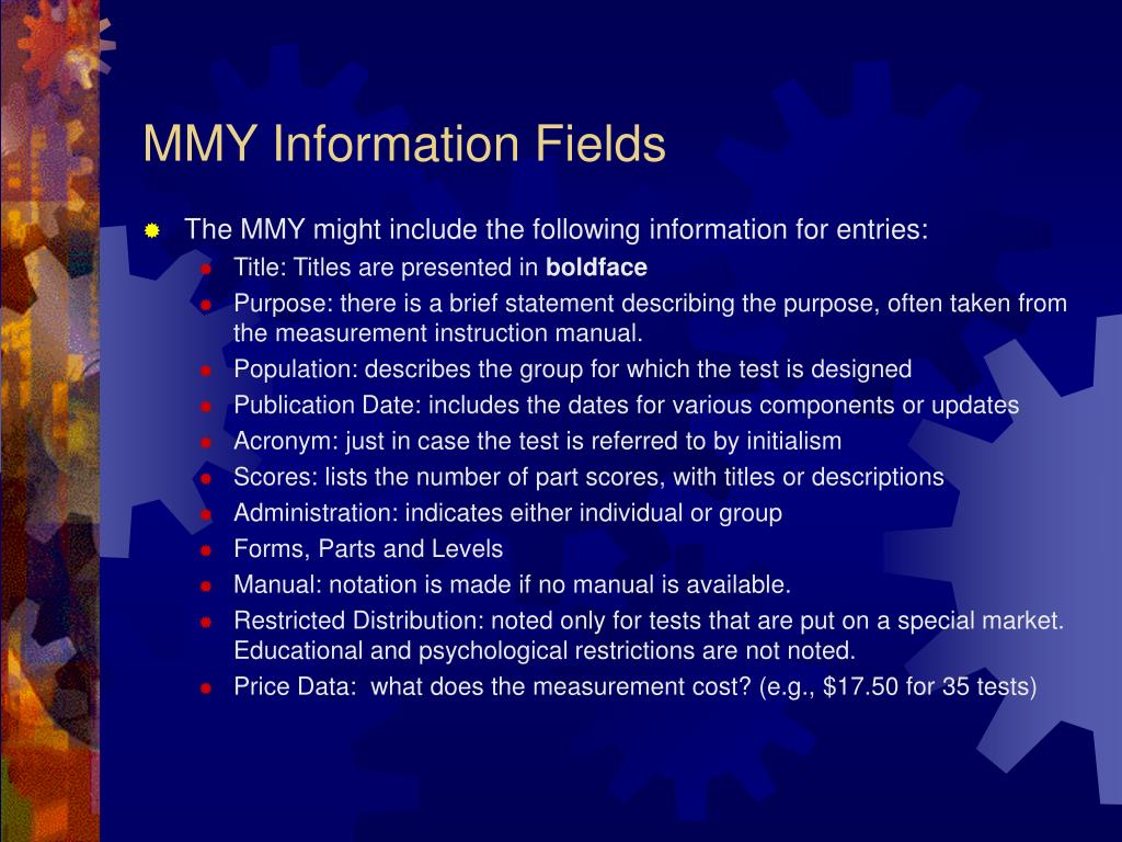 MMY Information Fields