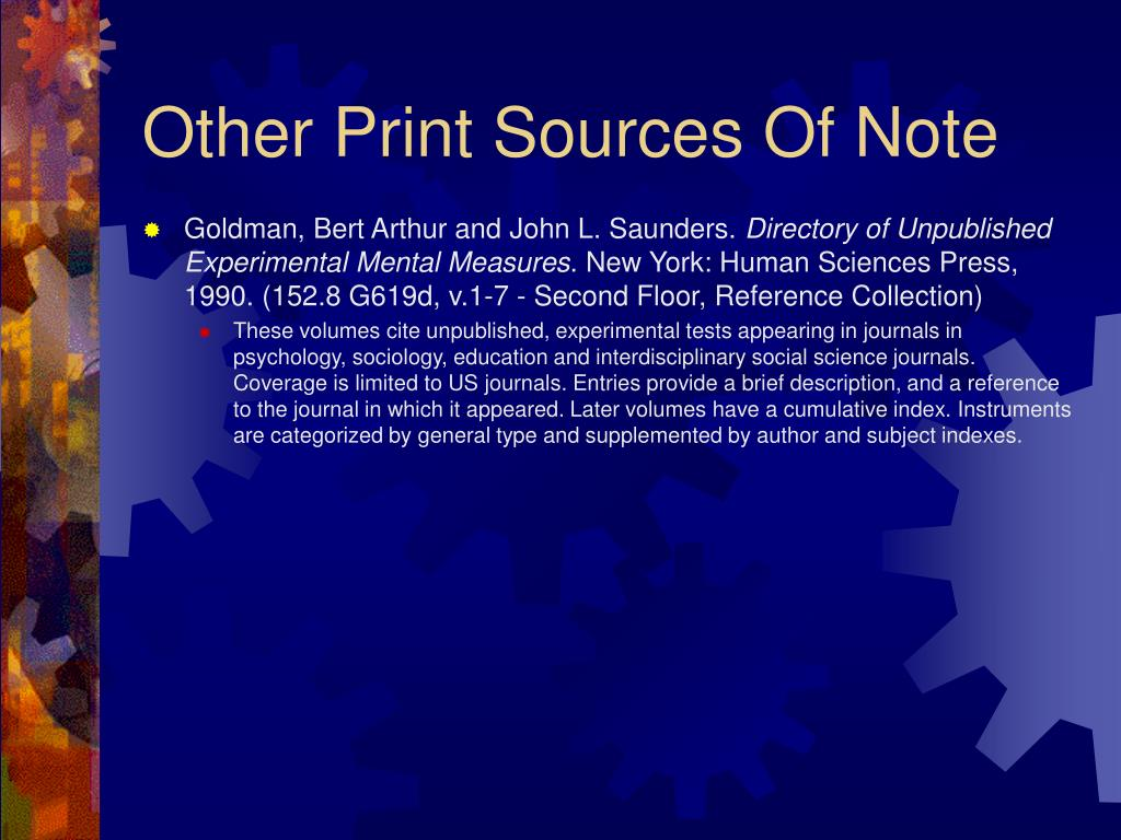 Other Print Sources Of Note