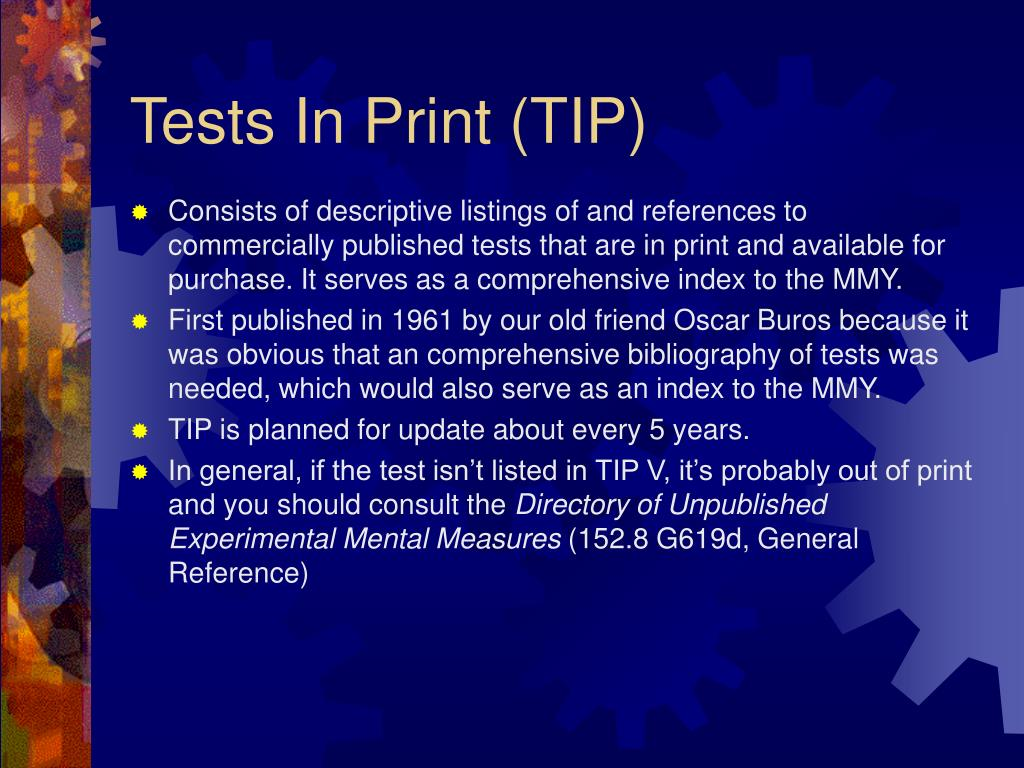 Tests In Print (TIP)