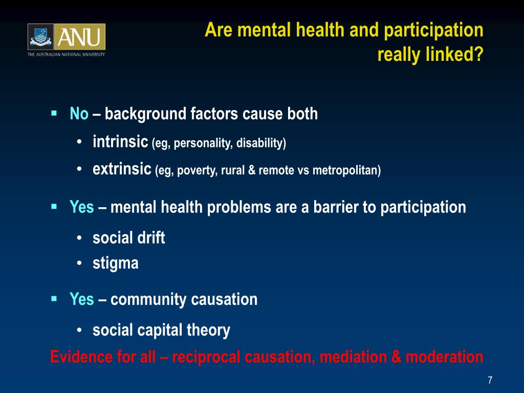 Are mental health and participation
