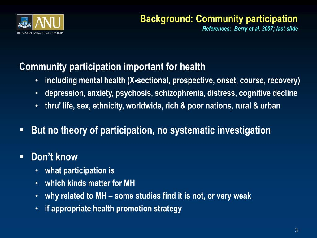 Background: Community participation