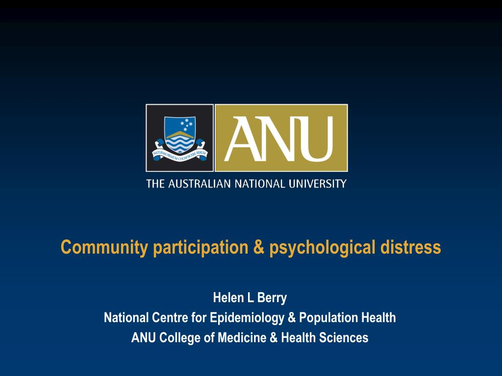 Community participation & psychological distress