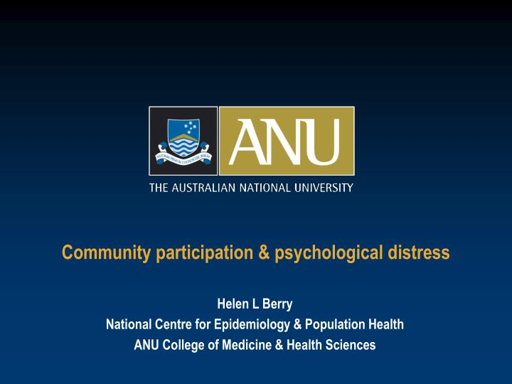 Community participation psychological distress l.jpg