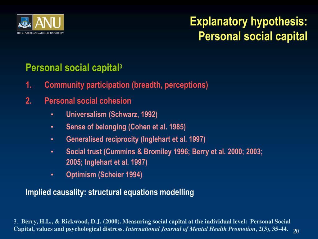 Explanatory hypothesis: