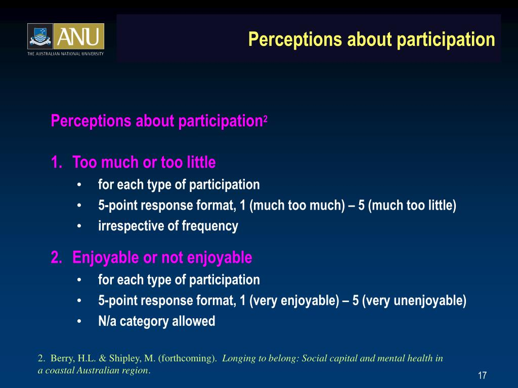 Perceptions about participation