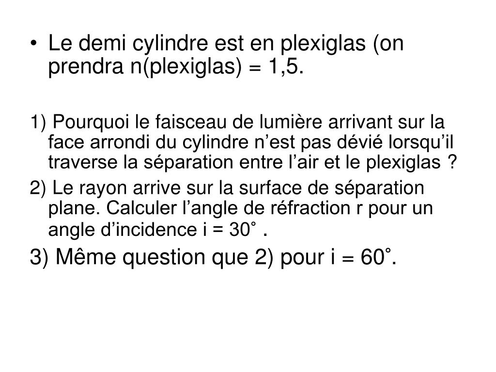 Le demi cylindre est en plexiglas (on prendra n(plexiglas) = 1,5.