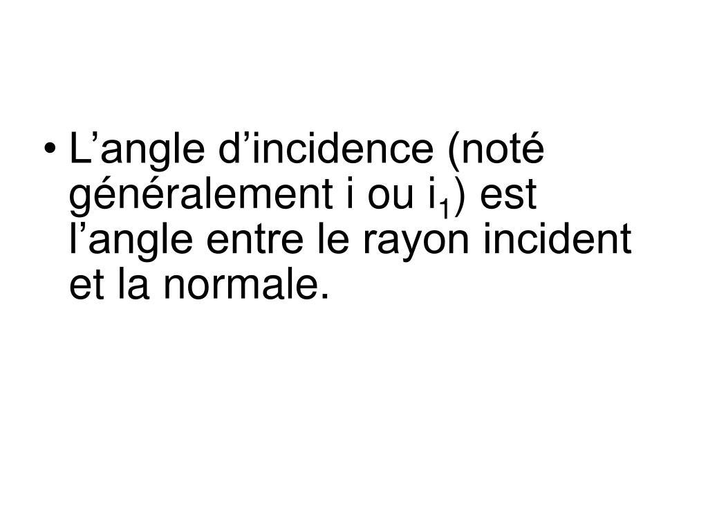L'angle d'incidence (noté généralement i ou i