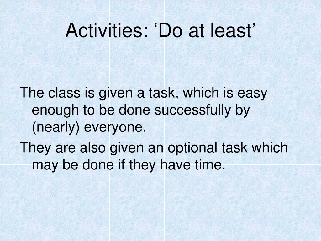 Activities: 'Do at least'
