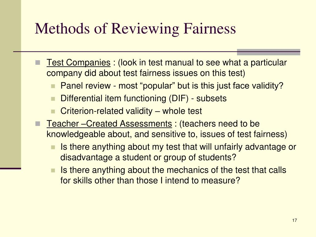 Methods of Reviewing Fairness