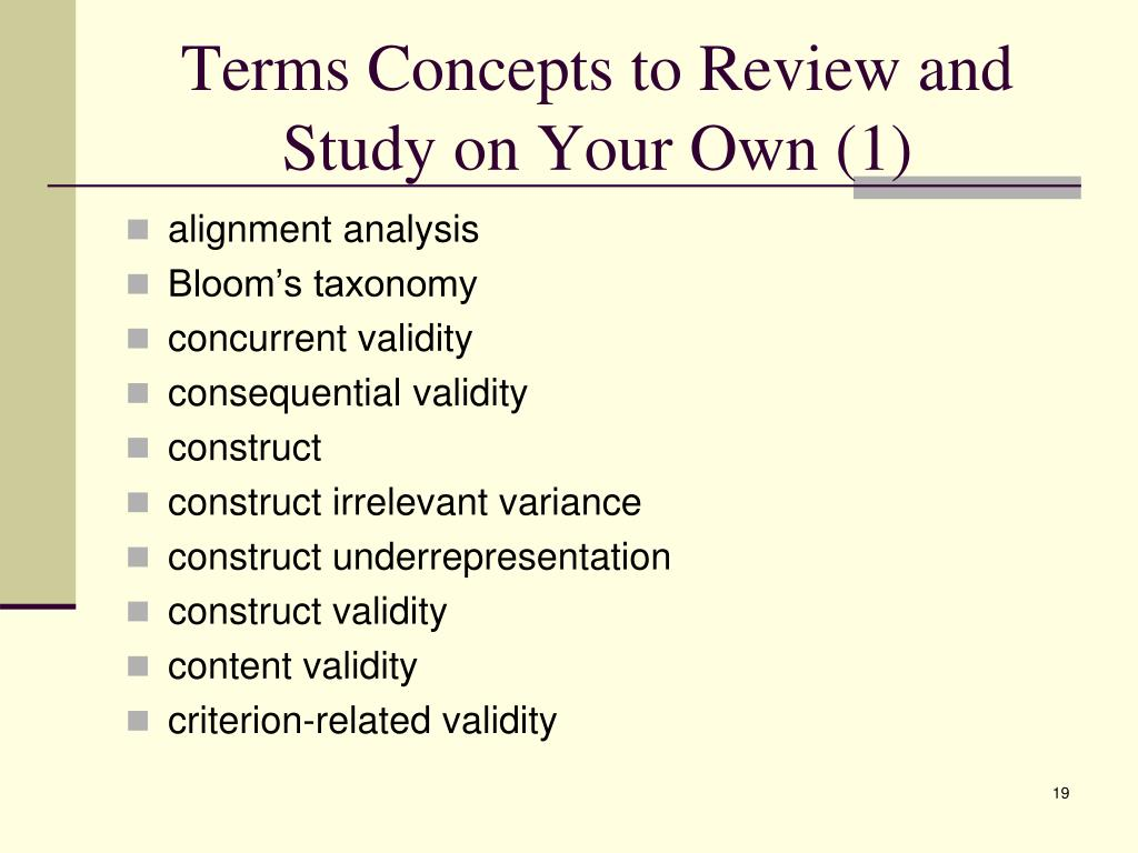 Terms Concepts to Review and