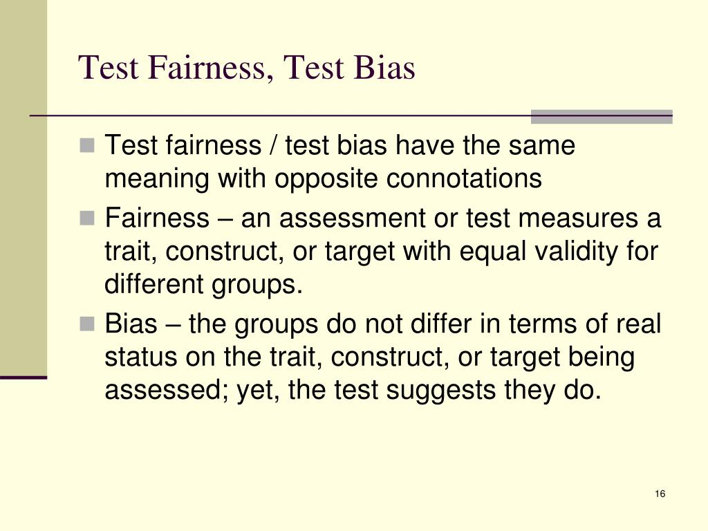Test Fairness, Test Bias