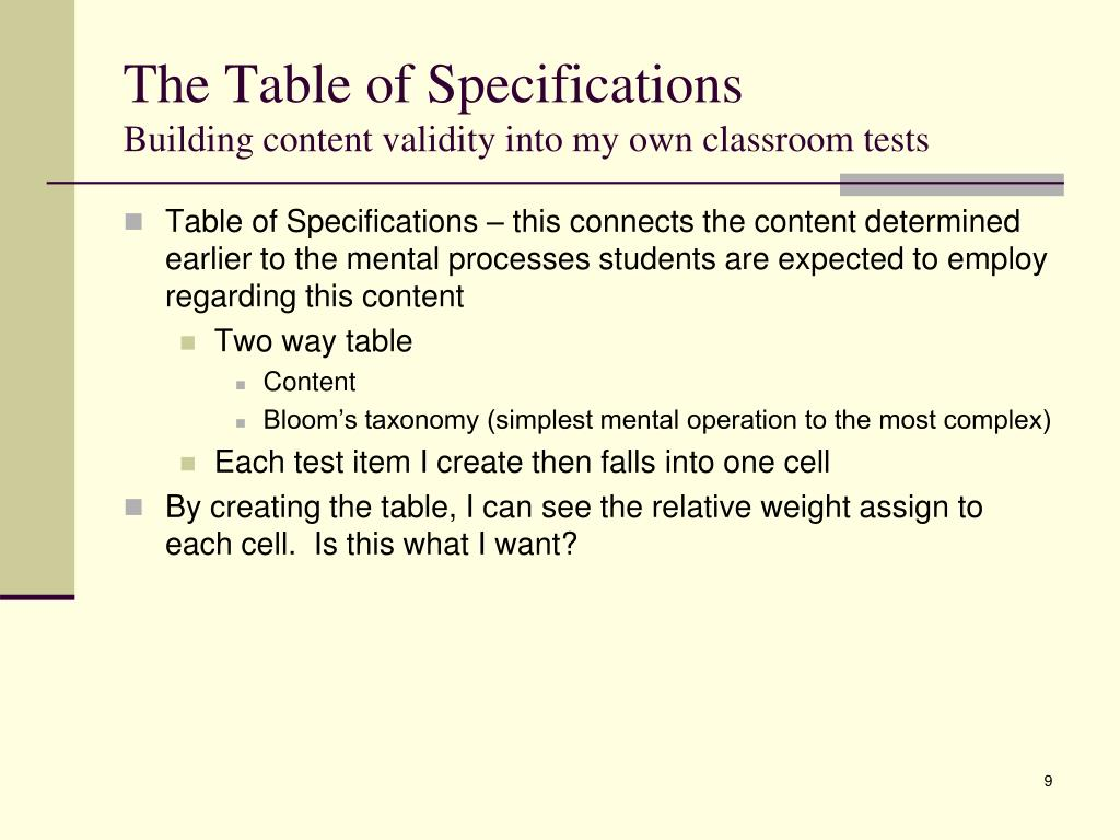The Table of Specifications