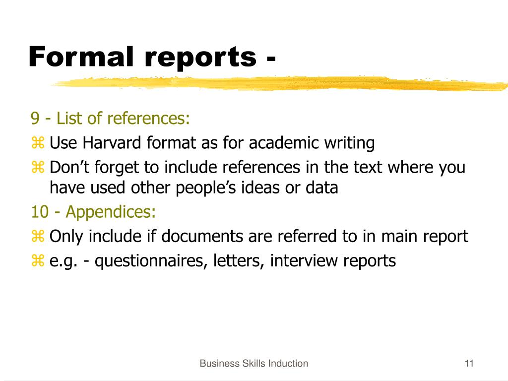 Formal reports -