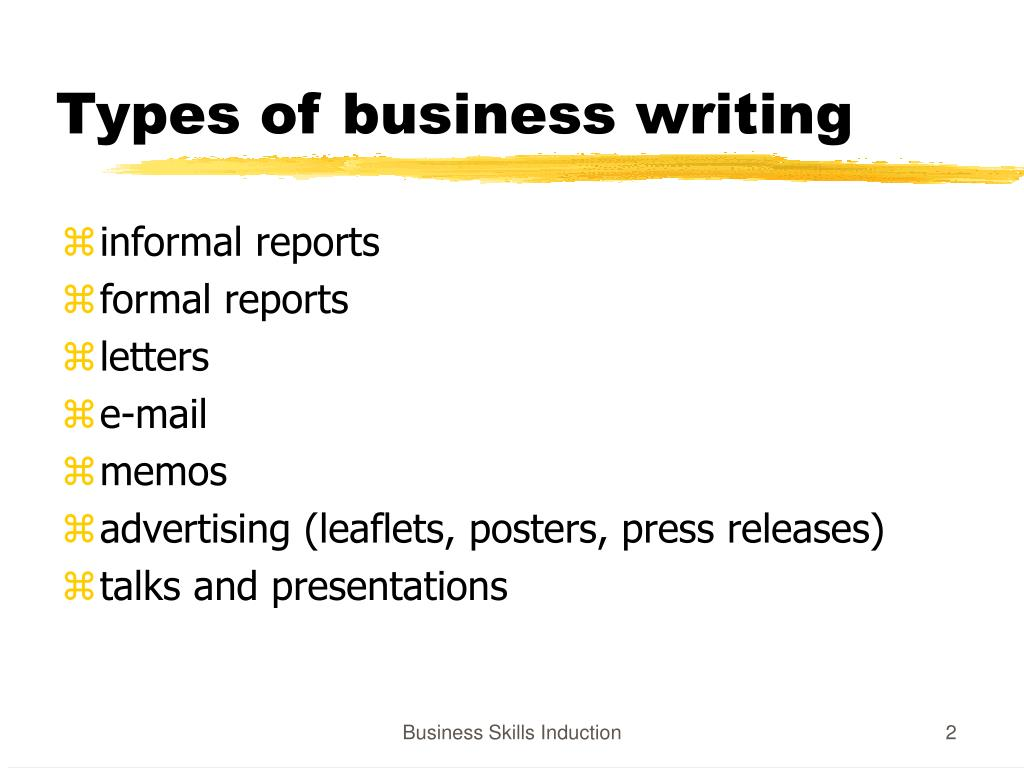 Types of business writing