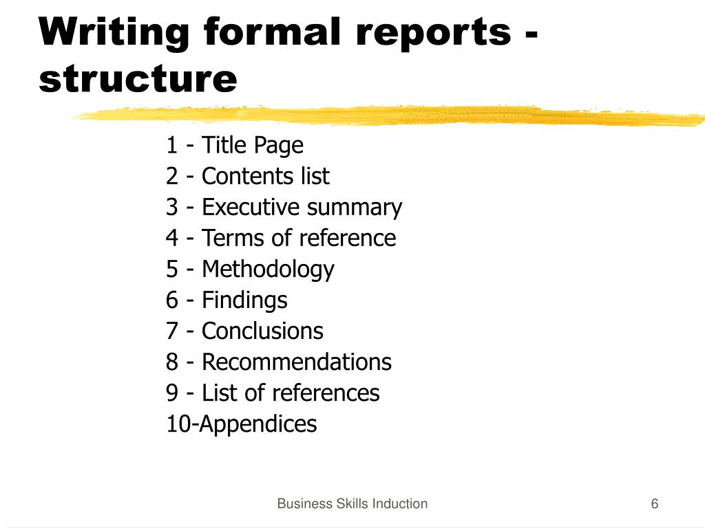 Writing formal reports - structure