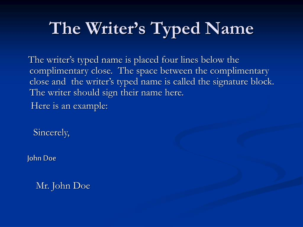 The Writer's Typed Name