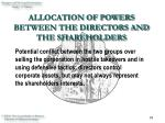 allocation of powers between the directors and the shareholders