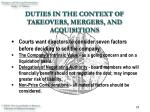 duties in the context of takeovers mergers and acquisitions