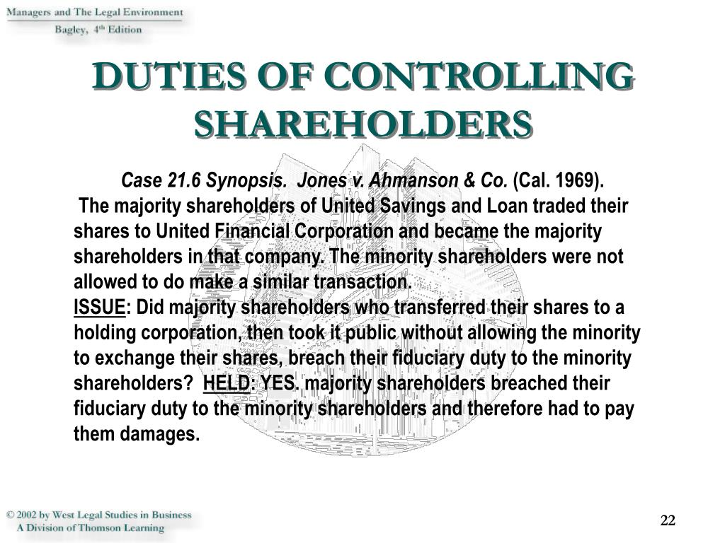 DUTIES OF CONTROLLING SHAREHOLDERS
