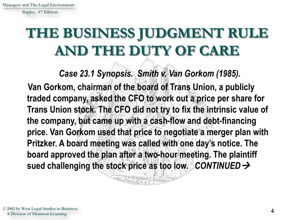 THE BUSINESS JUDGMENT RULE AND THE DUTY OF CARE