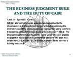 the business judgment rule and the duty of care5