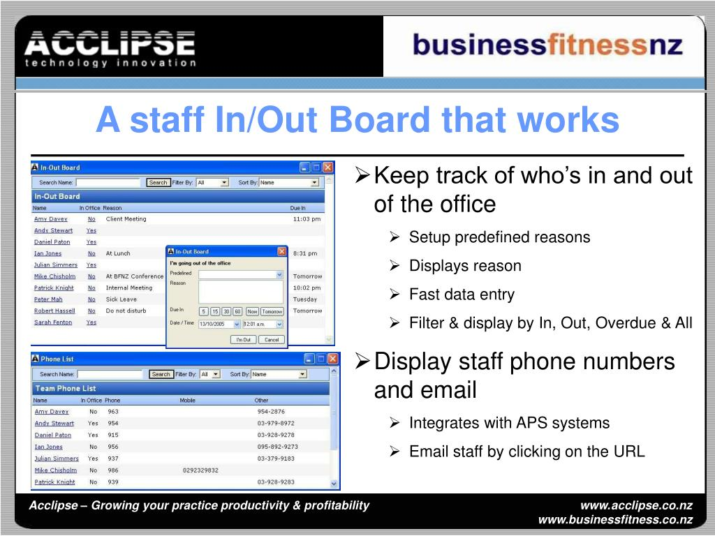 A staff In/Out Board that works