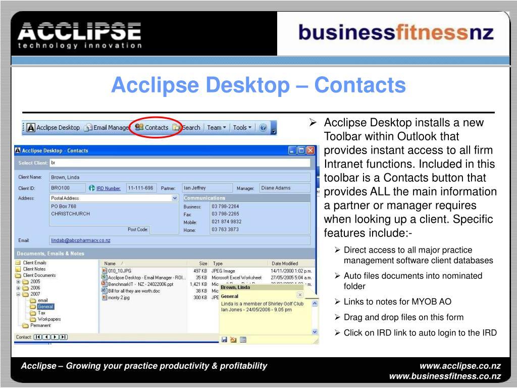 Acclipse Desktop – Contacts