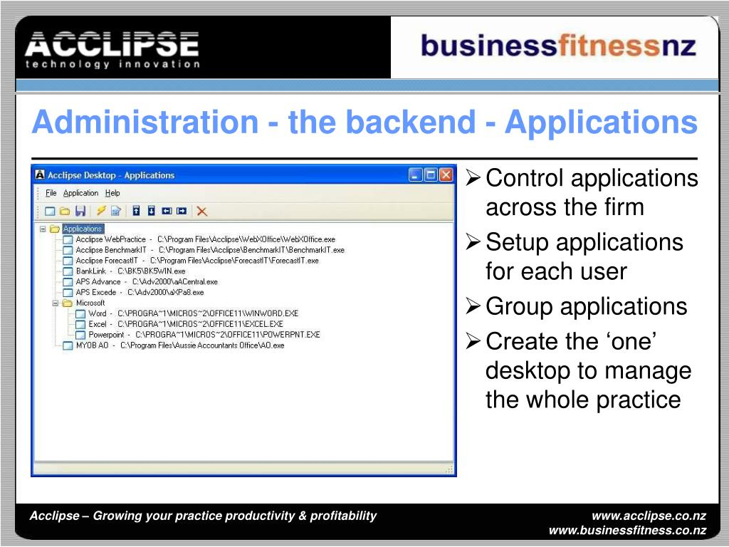 Control applications across the firm