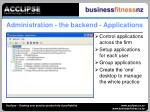 administration the backend applications