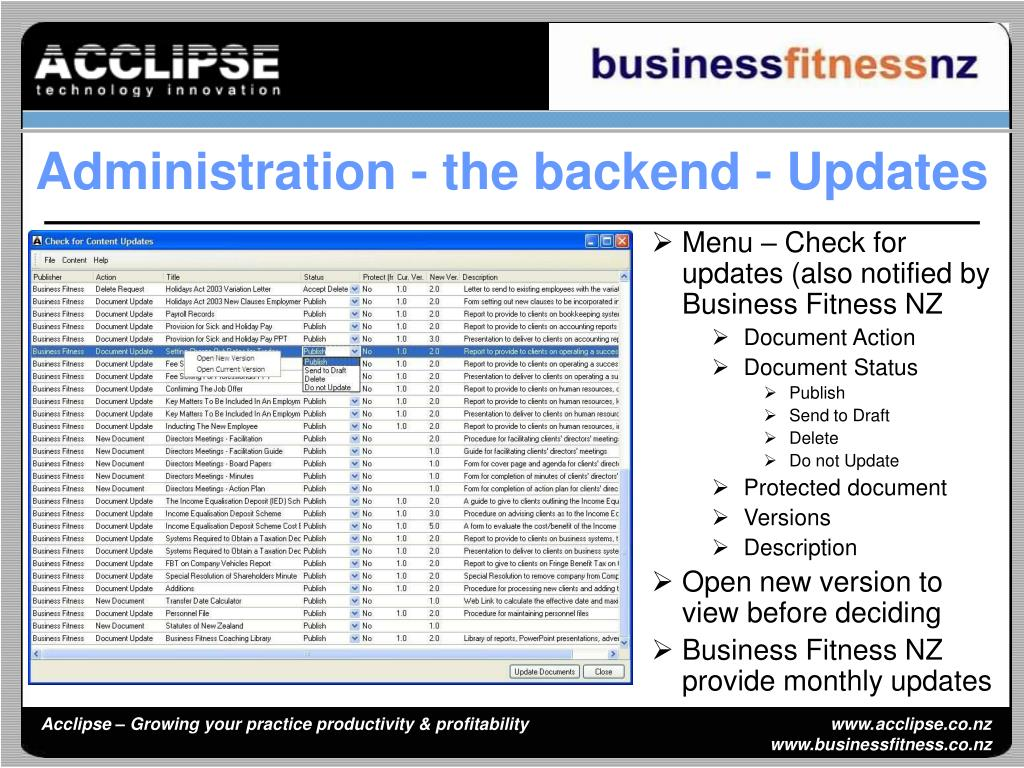 Menu – Check for updates (also notified by Business Fitness NZ