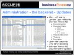 administration the backend updates