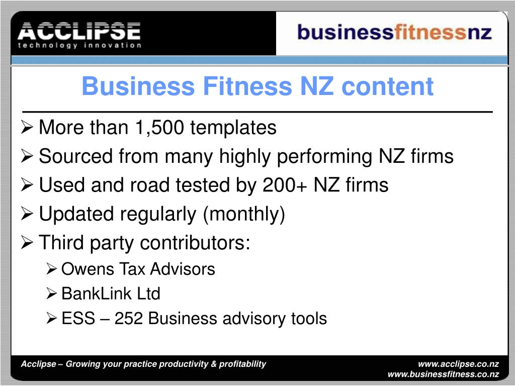 Business Fitness NZ content