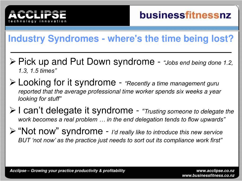 Industry Syndromes - where's the time being lost?