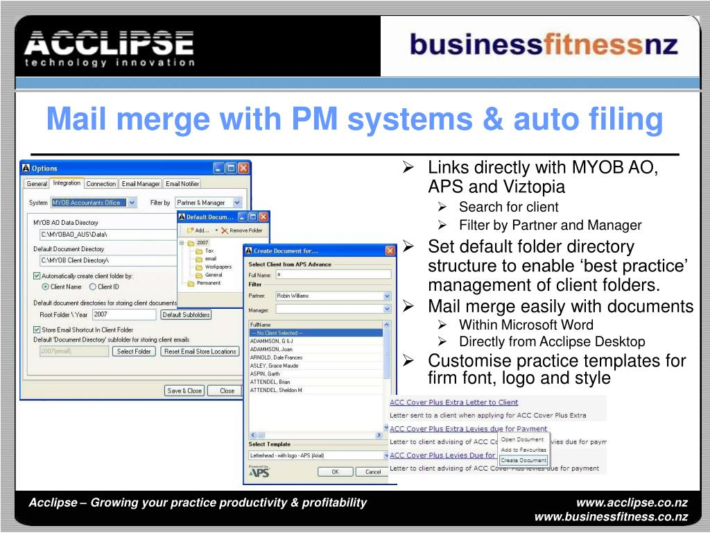 Mail merge with PM systems & auto filing